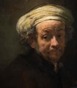 Detail of Rembrandt's self-portrait as the Apostle Paul