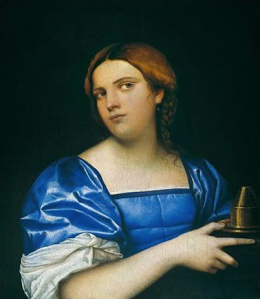 """Piombo, """"Portrait of a Young Woman as a Wise Virgin,"""" 1510, Washington, The National Gallery of Art. Licensed under Public domain via Wikimedia Commons."""