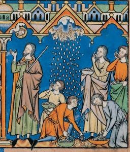 Manna reigning from heaven on the Israelites (Exodus 16), circa 1250, Maciejowski Bible