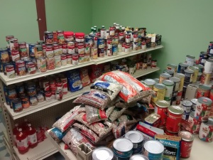 Just a small portion of the food items available through Luminary UMC's Food Pantry.